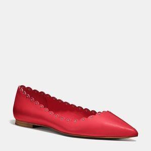 Coach Jill Soft Shine Red Scalloped Flats 9.5 NWT